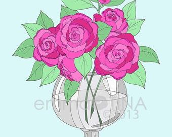 Bright Roses Decorative Illustration Art Print
