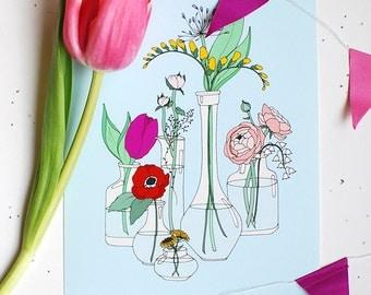 Tiny Flower Vases Decorative Illustration Art Print