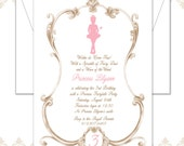 Princess Birthday Invitation, Vintage Princess Invite, Vintage Princess Birthday, Princess Party, Tutu Princess, Princess & Wand Invite