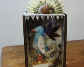 Specimen Box Assemblage/Collage Vintage Paper Blue Bird Folk Art Whimsical - digiliodesigns