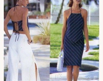 Plus size pants halter top and skirt designer sewing pattern Cynthia Rowley Butterick 6623 Sz 18 to 22