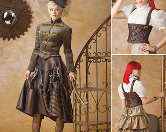 Diy Sewing Pattern-Simplicity 1558-Steampunk Coat, Corset ,Spats and Skirt Size 6-12 STAINED Envelope