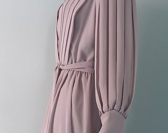 Retro Futurist Dress Evening Gown Muted Lavender Chiffon M