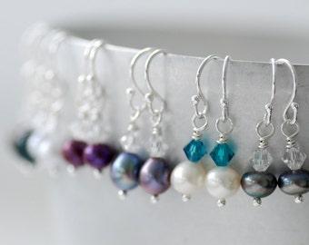 Little Girl Earrings, Dainty Earrings, Pearl Earrings, Flower Girl Earrings, Party Favors, Birthday, Sterling Silver, ONE Pair - Sweet Pea