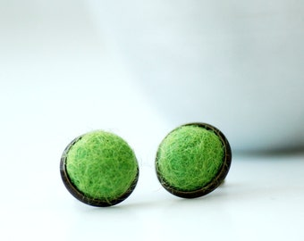 Stud Earrings, Felted Wool Earrings, Green Studs, Fibre Jewelry, Post Earrings, Green Earrings, Antiqued Brass Studs
