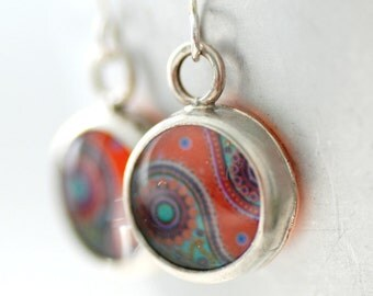 Paisley Earrings, Mod Earrings, Retro Earrings, Paper Earrings, Bezel Earrings, Paisley Jewelry, Orange Earrings, 1970's, MADE TO ORDER