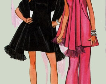 1960s Strappy Evening Mini Dress, Tunic, Pants w/ Stole Vintage 60s Mad Men Sewing Pattern Size 16 UNCUT
