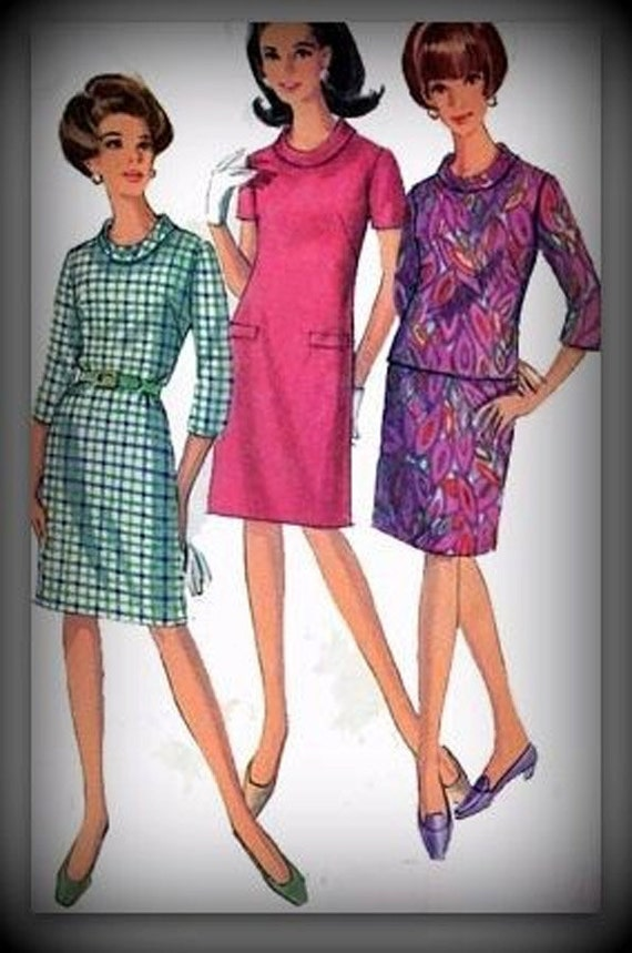 Vintage 60s Simplicity 7222 Bias Roll Collered Sheath Dress Size 20.5 B41