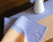 HandWoven Country Table Runner White Purple and Orange Stripe Cotton Hand Woven