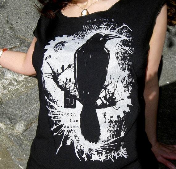 Nevermore Raven T-shirt - Edgar Allan Poe Women's Tee Shirt Scoop Neck Top
