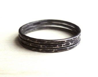 Stacked Rings - Oxidized - Sterling Silver - Hammered - Rustic - Custom - Three Stacked Rings - Black Rings - Minimalist - Made In Brooklyn