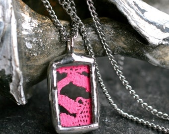 Sale- neon pink lace necklace tiny modern square silver stained glass boho hot pink small rectangle pendant  PINK LACE MINI