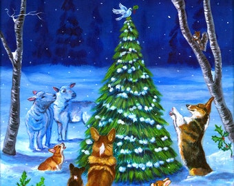 Pembroke Welsh Corgi Christmas Peace Giclee Print
