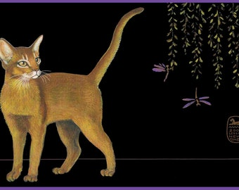 Art Print, Abyssinian cat watching Dragonfly,