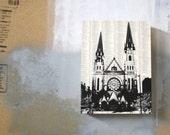 Marquette Campus Print- MILWAUKEE Artwork - Downtown Milwaukee Print - Mounted woodblock - MKE Art