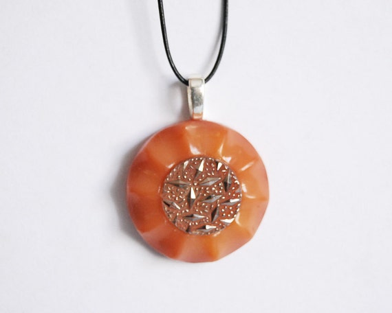 Reserved for Paxton -- Vintage Button Necklace Peaches and Gleam Glass Button Jewelry Orange Silver Pendant Necklace