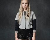 Cropped Jacket, Grey Jacket, Zippered Jacket, Neoprene, Linen, Faux Layered, Long Sleeved Jacket, Colourblock Jacket, Tailored Jacket