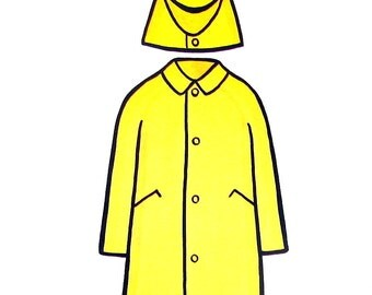 4 Large Vintage Flashcards - Yellow Raincoat, Blue Raincoat, Apron, Baseball Cap  - 1965 Elementary School Educational Flashcards