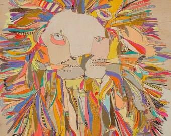 Lion Star Canvas Print by Jennifer Mercede 30x24