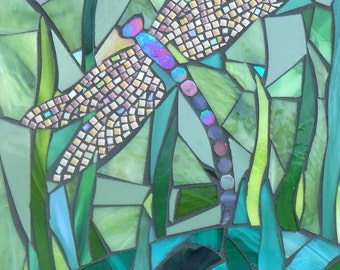 Dragonfly Card - Dragonfly by Pond Mosaic - Mosaic Art - Greetings Card - Birthday Card - Butterfly Card - Glass Dragonfly - Dragonfly Art