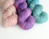Yarn Trio Kit - 3 Skeins of Fingering Yarn - Desert Rose, Hyacinth, Nessie - ToilandTrouble