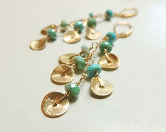 Cascade Earrings with Sleeping Beauty Turquoise and Brushed Gold Discs Luxe Boho Chic Fashion