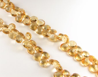 Flawless Natural Citrine Beads Faceted Heart Gemstone Briolettes Flat Teardrops 8mm to 9mm, Citrine Tear drops, Orange (6 gems beads)