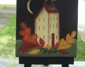 Primitive Fall Autumn Saltbox House Leaves Mini Canvas