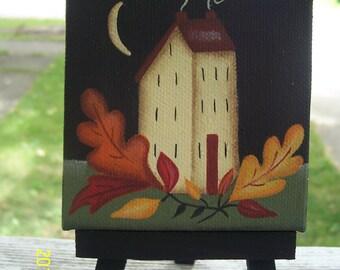 Primitive Fall Autumn Saltbox House Leaves Mini Canvas