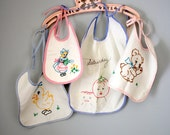 Collection of Four Vintage 50s Embroidered Baby Bibs
