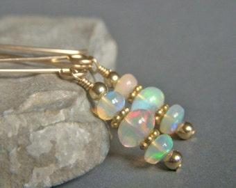 Genuine Opal Earrings Goldfilled, Gold Filled Earrings, Fiery Flashy Ethiopian Welo Opal, Petite Gemstone Rondelle Dangle Earrings