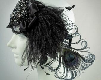 Black Lace Flapper Feather Headband