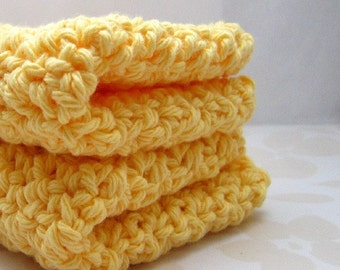 Butter Yellow Cotton Washcloths / Dishcloths, Light Yellow Crochet Wash Cloths / Dish Cloths, Handmade Spa Cloths, Eco Friendly Cleaning