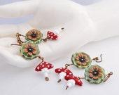 Polka Dot Mushroom and Flower Earrings - Homegrown - ceramic, lampwork