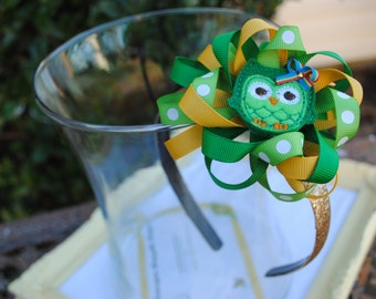 Lucky Girl Gold Glitter Bow - St Patrick's Day Headband - Owl Hard Headband for Toddlers, Girls, Tweens, Adults - Irish Bow - St Paddy's Day