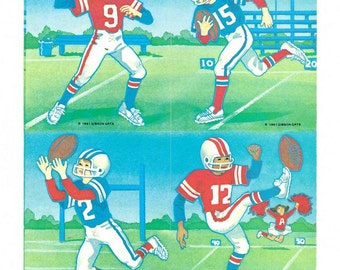 Football Player Sticker Sheet Vintage 90's by Gibson Greetings