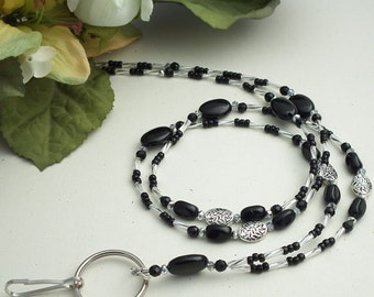 Black and Silver Beads and Crystals Beaded ID Badge Lanyard