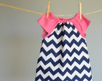 Dress - chevron zigzag navy blue pink nautical birthday  girl baby toddler Spring Easter 0-3 3-6, 6-12, 12-18, 18-24, 2t, 3t 4t 5t 6 7