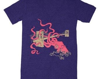 Squid Attack - V-neck T-shirt Tee Kraken Octopus Brooklyn Bridge SciFi Geek Fantasy Monster New York NYC NY Shirt Tri Blend Indigo Tshirt
