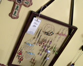 Jewelry Display Vintage Picture Frame with Beaded Fringe