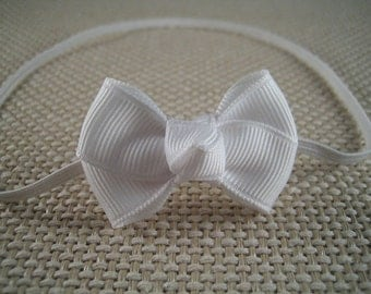 White Infant headband -  White Baby Hair Bow Headband - Infant Headband, Baby Headband, Skinny Elastic  Headband