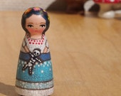 """Tiny Muse Frida Doll Wooden 2"""" inches Tall with skeleton"""