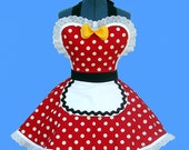 "Apron  - Women's Apron ""Red Polka Dot Diner"" Womens Retro Apron  READY TO SHIP"