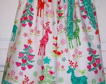 Christmas Dress Pillowcase Dress with Deer Nordic Holiday Dress Michael Miller Aqua Swirls baby dress toddler dress girls dress with Trees