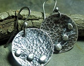 Sterling silver earring dangles round rustic pebble hammered - Three Pebbles
