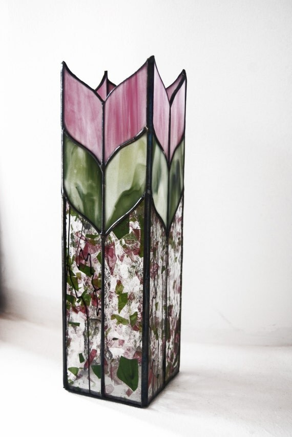 Glass Vase Candle Holder Home Decor Gift Stained Glass