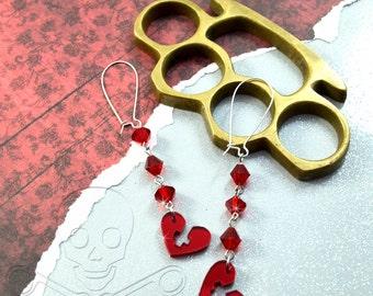 LOVELY SINNER - Inverted Cross Heart Dangly Charm Earrings in Red Mirror Laser Cut Acrylic