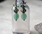 Bird Earrings, love birds,  nature, woodland, forest, moss green, gift for her
