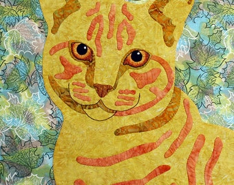 My Little Orange Kitten -- Instant Download -- Applique Cat Quilt Pattern