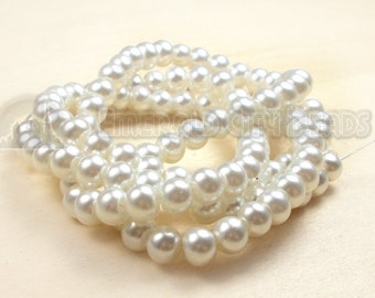 "Soft White, Glass Pearl, 8mm Glossy Round, 15"" Strand, 8S-GL8PWH-015-001"